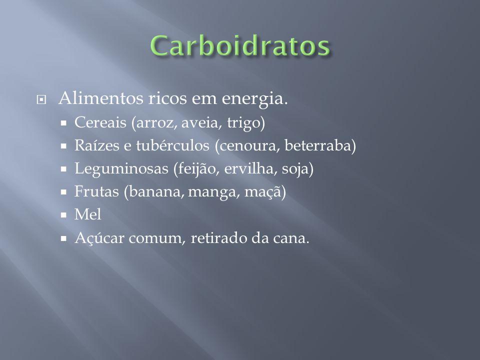  Alimentos ricos em energia.  Cereais (arroz, aveia, trigo)  Raízes e tubérculos (cenoura, beterraba)  Leguminosas (feijão, ervilha, soja)  Fruta