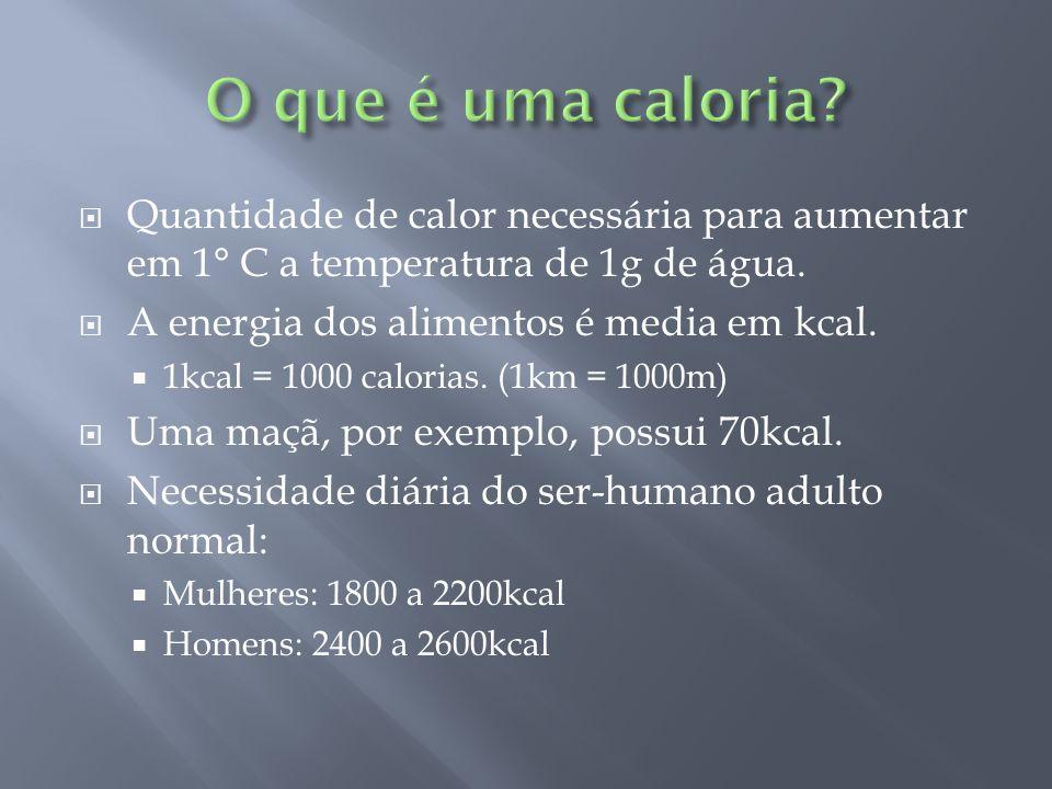  Quantidade de calor necessária para aumentar em 1° C a temperatura de 1g de água.  A energia dos alimentos é media em kcal.  1kcal = 1000 calorias