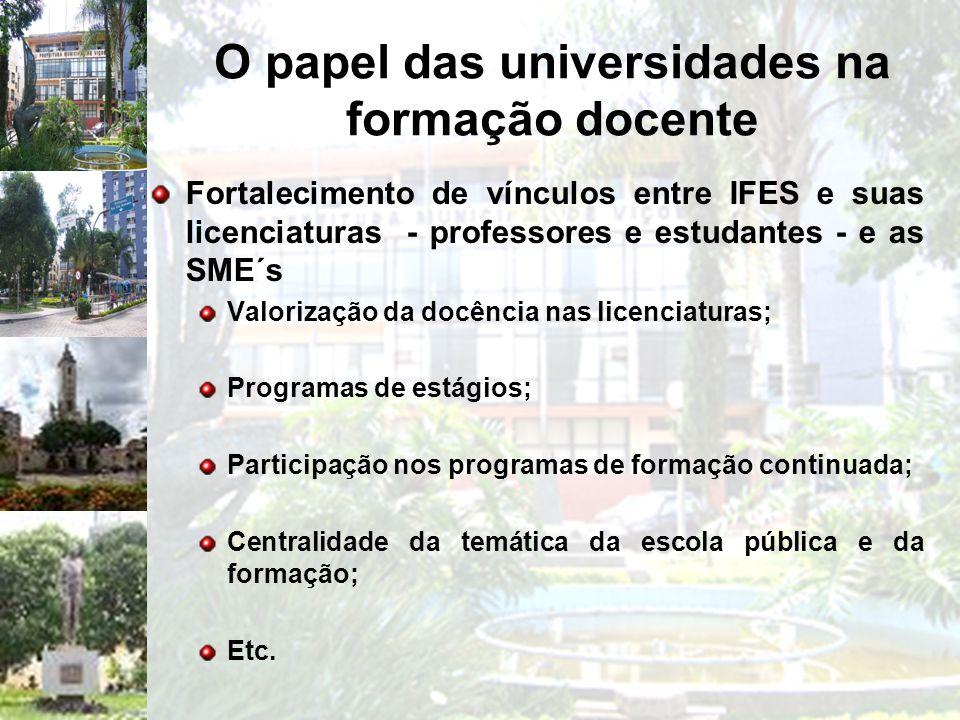 O papel das universidades na formação docente Fortalecimento de vínculos entre IFES e suas licenciaturas - professores e estudantes - e as SME´s Valor