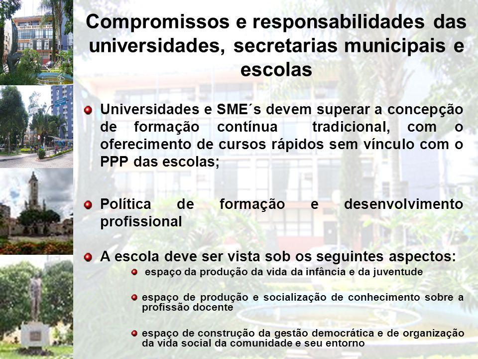 Compromissos e responsabilidades das universidades, secretarias municipais e escolas Universidades e SME´s devem superar a concepção de formação contí