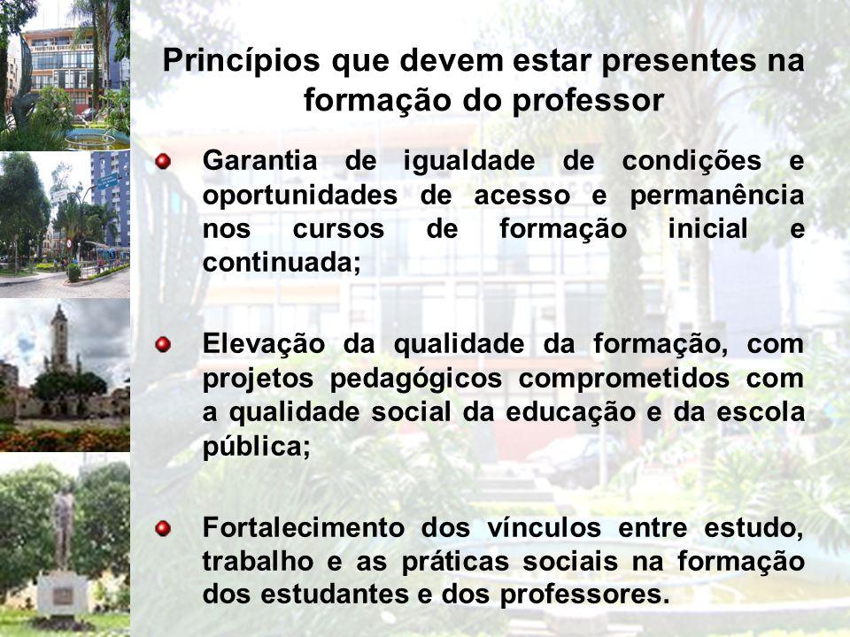 Princípios que devem estar presentes na formação do professor Garantia de igualdade de condições e oportunidades de acesso e permanência nos cursos de