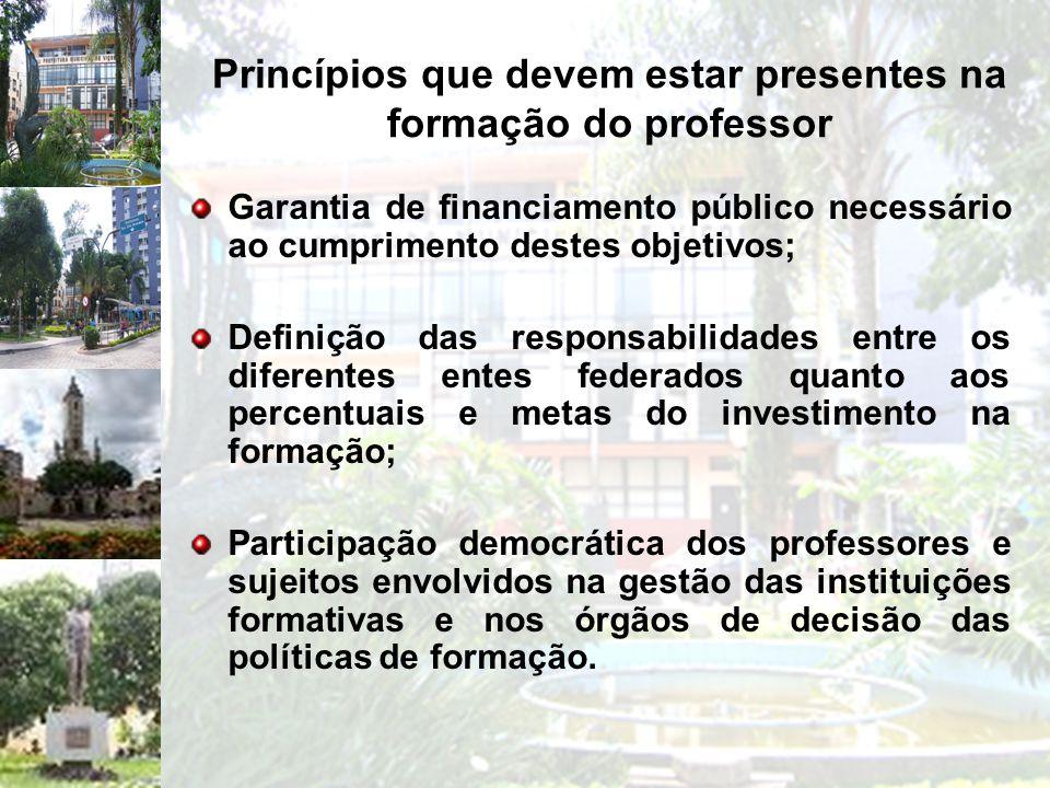 Princípios que devem estar presentes na formação do professor Garantia de financiamento público necessário ao cumprimento destes objetivos; Definição