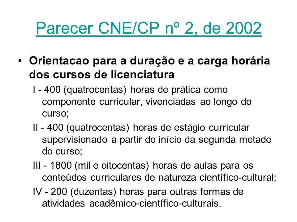 Parecer CNE/CP nº 2, de 2002 Orientacao para a duração e a carga horária dos cursos de licenciatura I - 400 (quatrocentas) horas de prática como compo