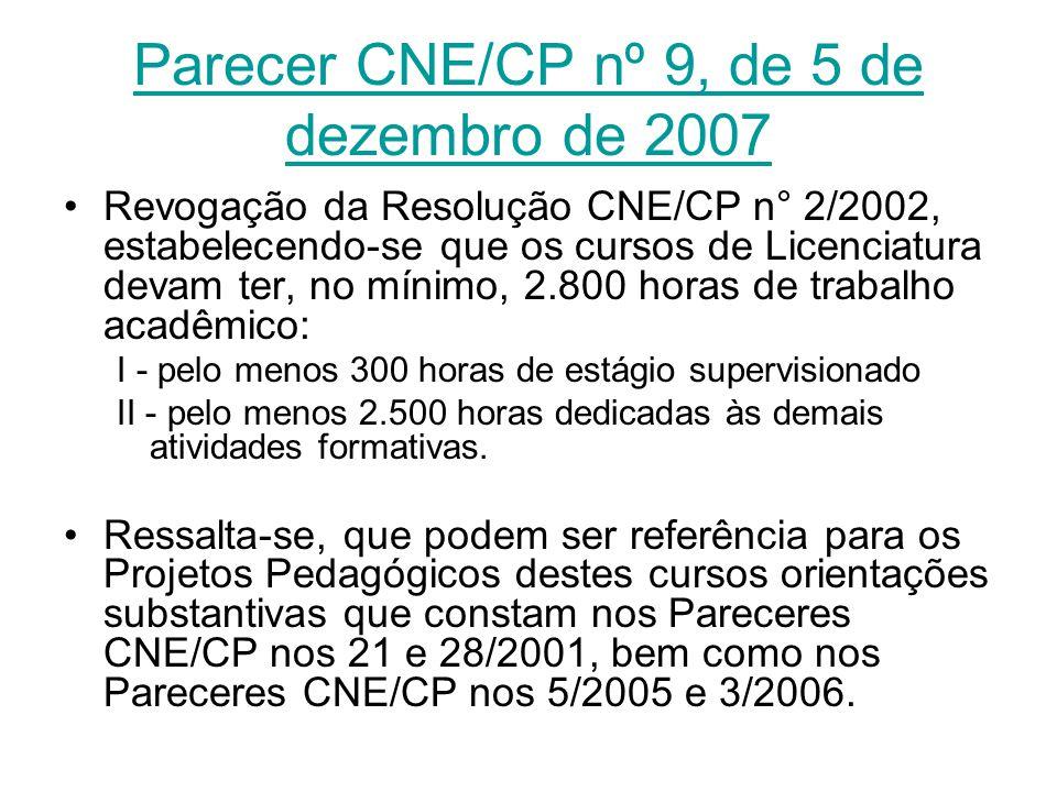 Parecer CNE/CP nº 9, de 5 de dezembro de 2007 Revogação da Resolução CNE/CP n° 2/2002, estabelecendo-se que os cursos de Licenciatura devam ter, no mí