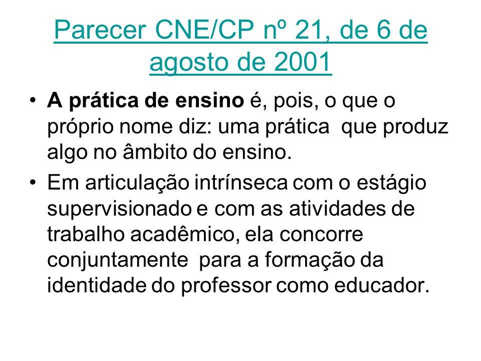 Parecer CNE/CP nº 21, de 6 de agosto de 2001 A prática de ensino é, pois, o que o próprio nome diz: uma prática que produz algo no âmbito do ensino. E