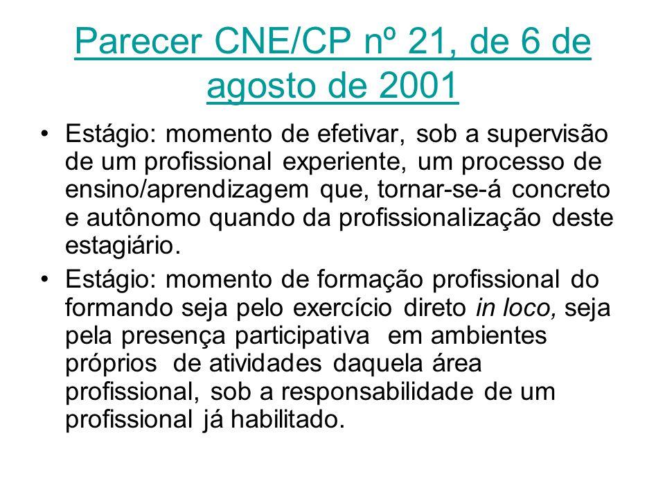 Parecer CNE/CP nº 21, de 6 de agosto de 2001 Estágio: momento de efetivar, sob a supervisão de um profissional experiente, um processo de ensino/apren