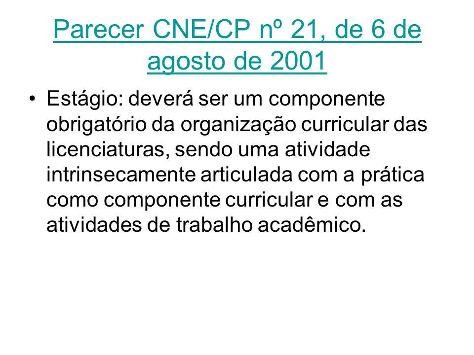 Parecer CNE/CP nº 21, de 6 de agosto de 2001 Estágio: deverá ser um componente obrigatório da organização curricular das licenciaturas, sendo uma ativ