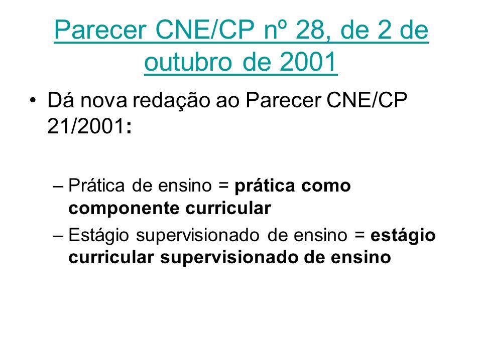 Parecer CNE/CP nº 28, de 2 de outubro de 2001 Dá nova redação ao Parecer CNE/CP 21/2001: –Prática de ensino = prática como componente curricular –Está