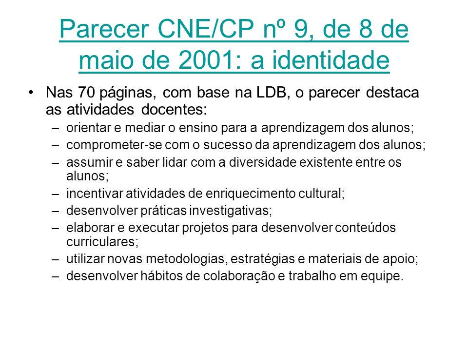 Parecer CNE/CP nº 9, de 8 de maio de 2001: a identidade Nas 70 páginas, com base na LDB, o parecer destaca as atividades docentes: –orientar e mediar