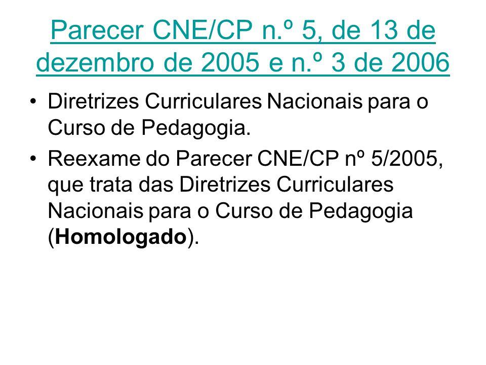Parecer CNE/CP n.º 5, de 13 de dezembro de 2005 e n.º 3 de 2006 Diretrizes Curriculares Nacionais para o Curso de Pedagogia. Reexame do Parecer CNE/CP