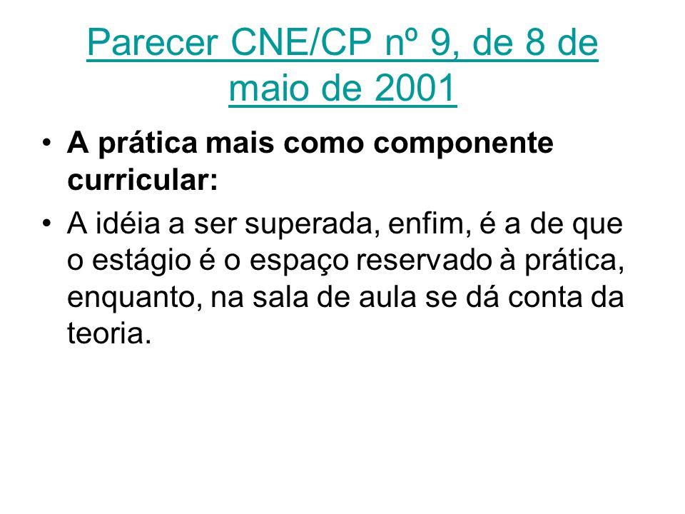 Parecer CNE/CP nº 9, de 8 de maio de 2001 A prática mais como componente curricular: A idéia a ser superada, enfim, é a de que o estágio é o espaço re