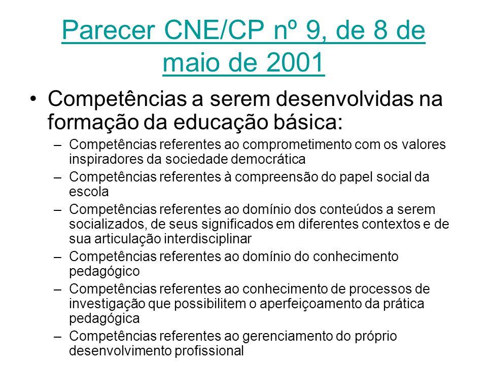 Parecer CNE/CP nº 9, de 8 de maio de 2001 Competências a serem desenvolvidas na formação da educação básica: –Competências referentes ao comprometimen