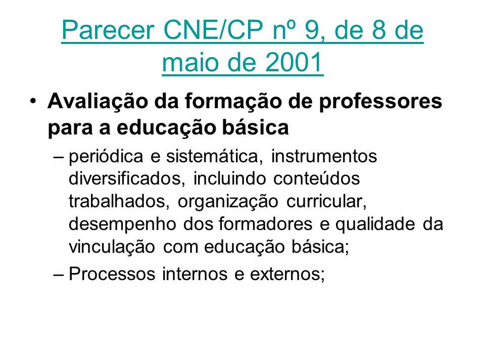 Parecer CNE/CP nº 9, de 8 de maio de 2001 Avaliação da formação de professores para a educação básica –periódica e sistemática, instrumentos diversifi