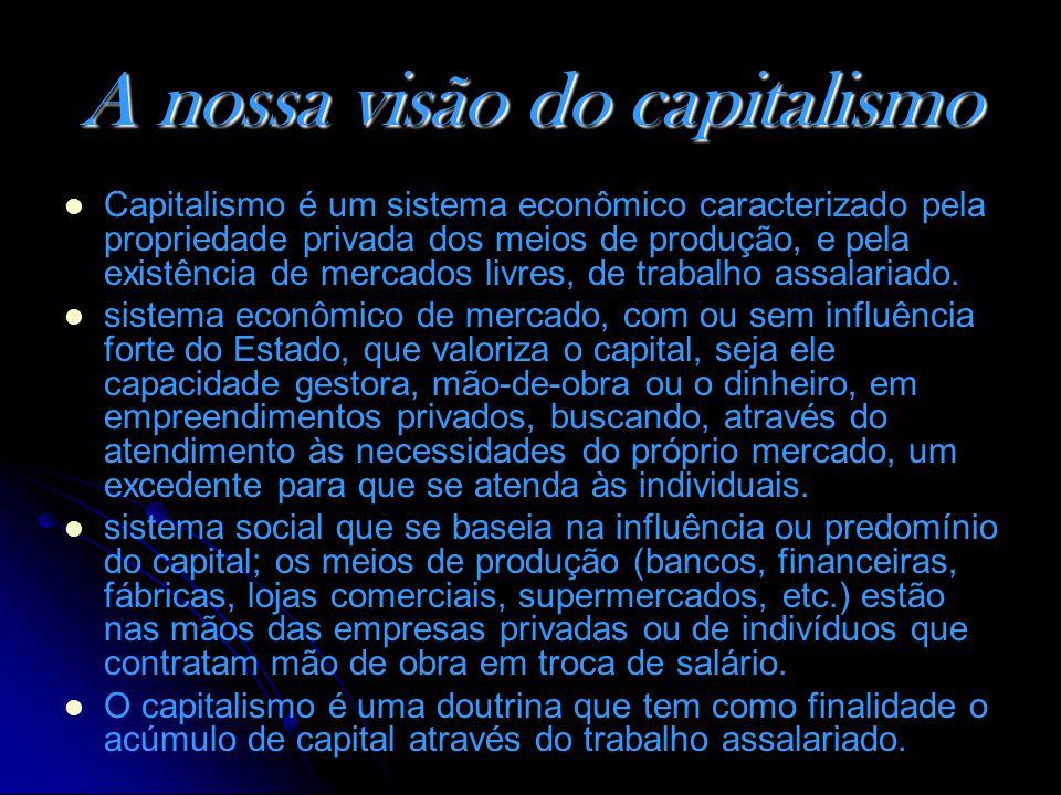 A nossa visão do capitalismo Capitalismo é um sistema econômico caracterizado pela propriedade privada dos meios de produção, e pela existência de mercados livres, de trabalho assalariado.