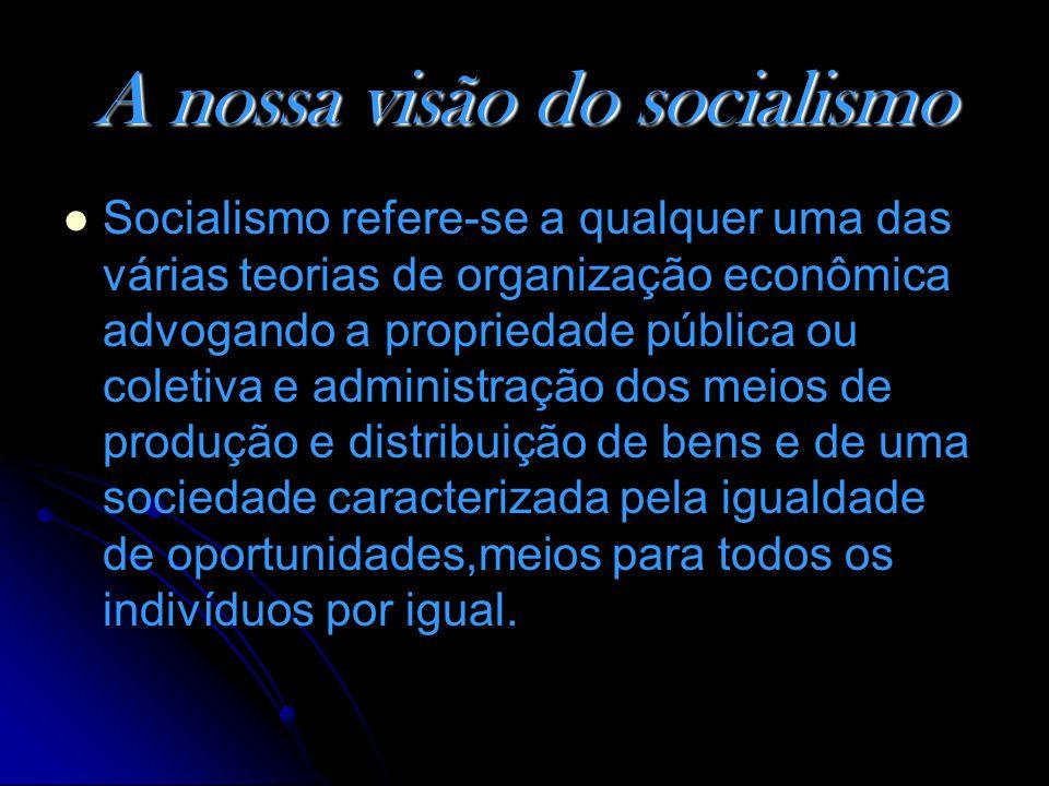 A nossa visão do socialismo Socialismo refere-se a qualquer uma das várias teorias de organização econômica advogando a propriedade pública ou coletiva e administração dos meios de produção e distribuição de bens e de uma sociedade caracterizada pela igualdade de oportunidades,meios para todos os indivíduos por igual.