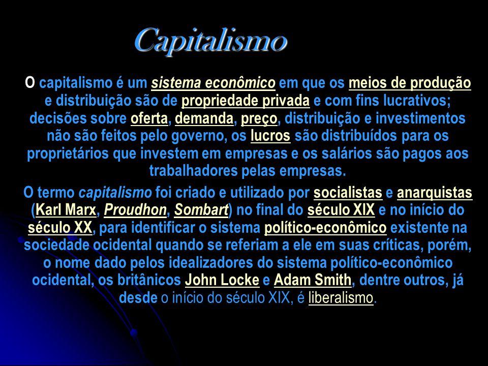 Capitalismo O capitalismo é um sistema econômico em que os meios de produção e distribuição são de propriedade privada e com fins lucrativos; decisões sobre oferta, demanda, preço, distribuição e investimentos não são feitos pelo governo, os lucros são distribuídos para os proprietários que investem em empresas e os salários são pagos aos trabalhadores pelas empresas.