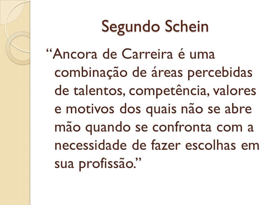 """Segundo Schein """"Ancora de Carreira é uma combinação de áreas percebidas de talentos, competência, valores e motivos dos quais não se abre mão quando s"""