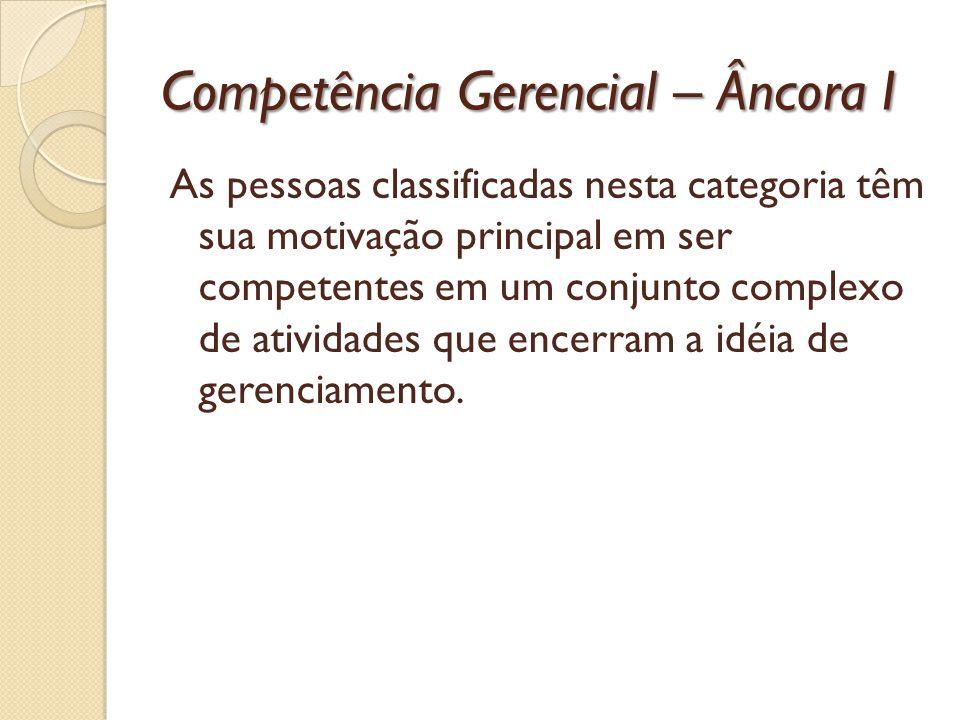 Competência Gerencial – Âncora I As pessoas classificadas nesta categoria têm sua motivação principal em ser competentes em um conjunto complexo de at
