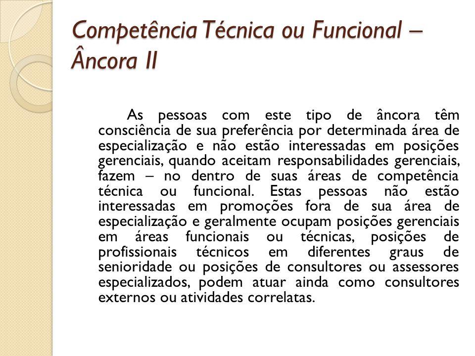 Competência Técnica ou Funcional – Âncora II As pessoas com este tipo de âncora têm consciência de sua preferência por determinada área de especializa
