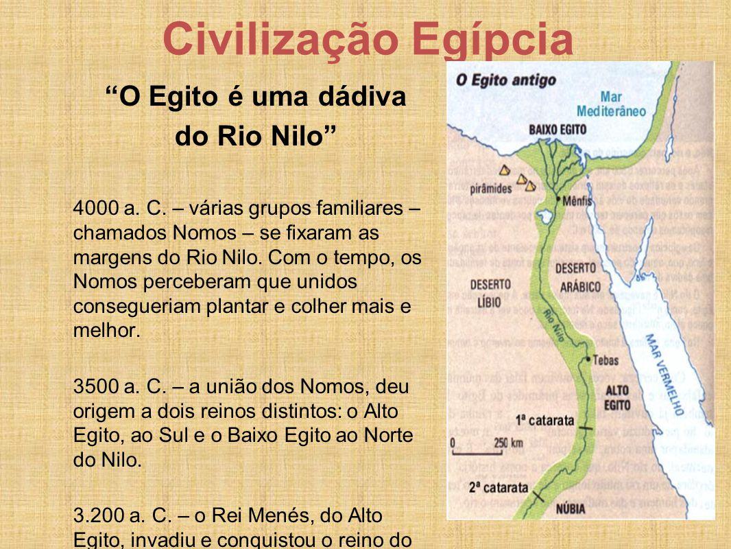 """Civilização Egípcia """"O Egito é uma dádiva do Rio Nilo"""" 4000 a. C. – várias grupos familiares – chamados Nomos – se fixaram as margens do Rio Nilo. Com"""