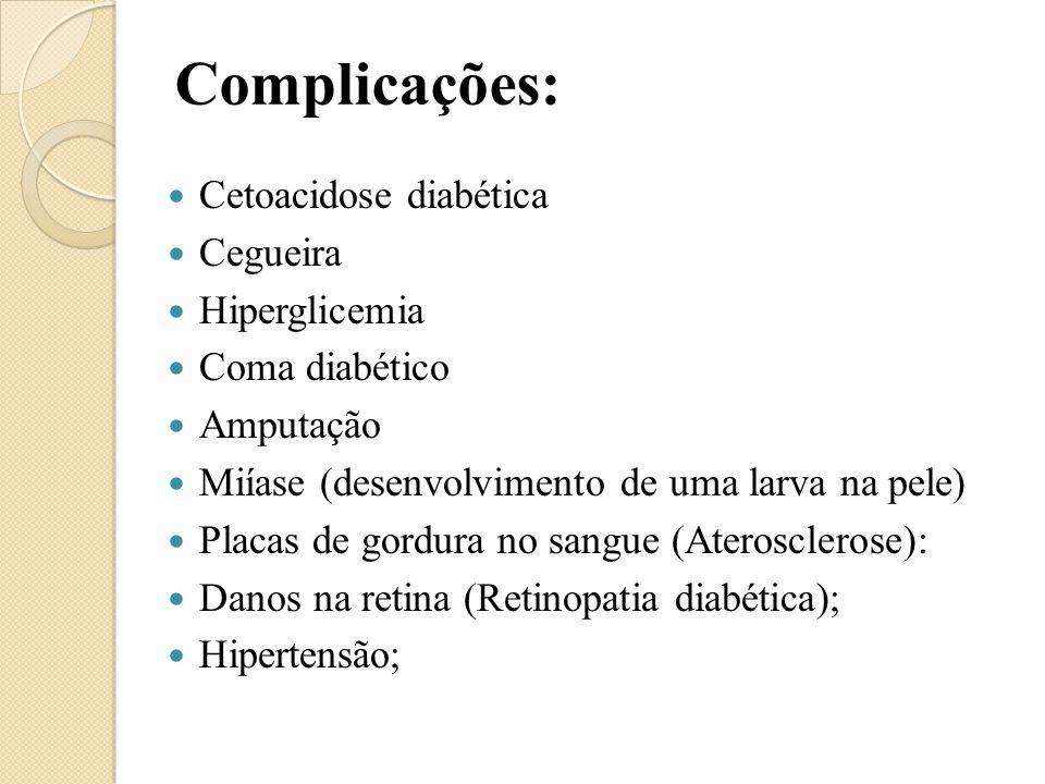 Complicações: Cetoacidose diabética Cegueira Hiperglicemia Coma diabético Amputação Miíase (desenvolvimento de uma larva na pele) Placas de gordura no