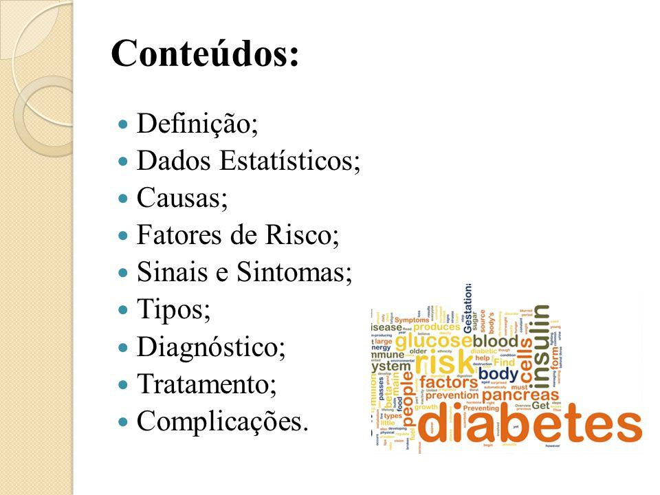 Conteúdos: Definição; Dados Estatísticos; Causas; Fatores de Risco; Sinais e Sintomas; Tipos; Diagnóstico; Tratamento; Complicações.