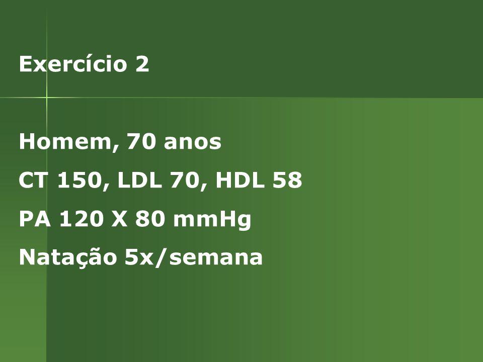 Exercício 2 Homem, 70 anos CT 150, LDL 70, HDL 58 PA 120 X 80 mmHg Natação 5x/semana