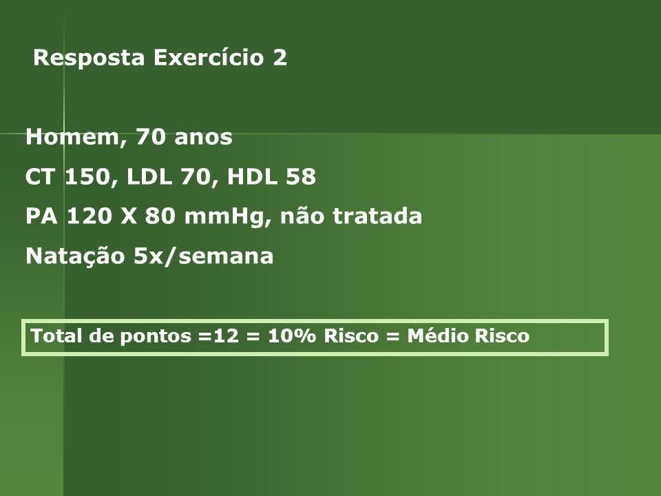 Total de pontos =12 = 10% Risco = Médio Risco Resposta Exercício 2 Homem, 70 anos CT 150, LDL 70, HDL 58 PA 120 X 80 mmHg, não tratada Natação 5x/semana