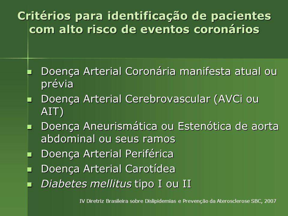 Doença Arterial Coronária manifesta atual ou prévia Doença Arterial Coronária manifesta atual ou prévia Doença Arterial Cerebrovascular (AVCi ou AIT) Doença Arterial Cerebrovascular (AVCi ou AIT) Doença Aneurismática ou Estenótica de aorta abdominal ou seus ramos Doença Aneurismática ou Estenótica de aorta abdominal ou seus ramos Doença Arterial Periférica Doença Arterial Periférica Doença Arterial Carotídea Doença Arterial Carotídea Diabetes mellitus tipo I ou II Diabetes mellitus tipo I ou II Critérios para identificação de pacientes com alto risco de eventos coronários IV Diretriz Brasileira sobre Dislipidemias e Prevenção da Aterosclerose SBC, 2007