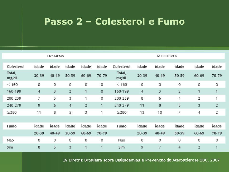 Passo 2 – Colesterol e Fumo IV Diretriz Brasileira sobre Dislipidemias e Prevenção da Aterosclerose SBC, 2007