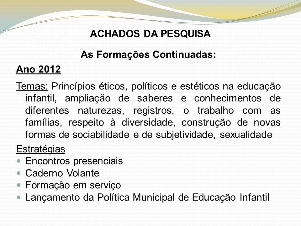ACHADOS DA PESQUISA As Formações Continuadas: Ano 2012 Temas: Princípios éticos, políticos e estéticos na educação infantil, ampliação de saberes e co