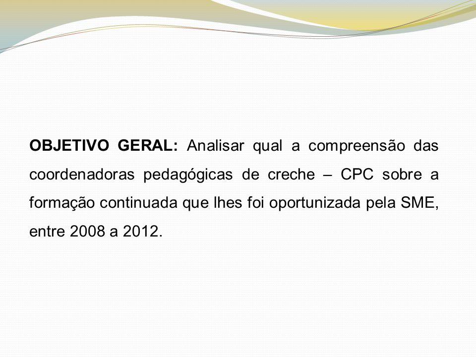 OBJETIVO GERAL: Analisar qual a compreensão das coordenadoras pedagógicas de creche – CPC sobre a formação continuada que lhes foi oportunizada pela S