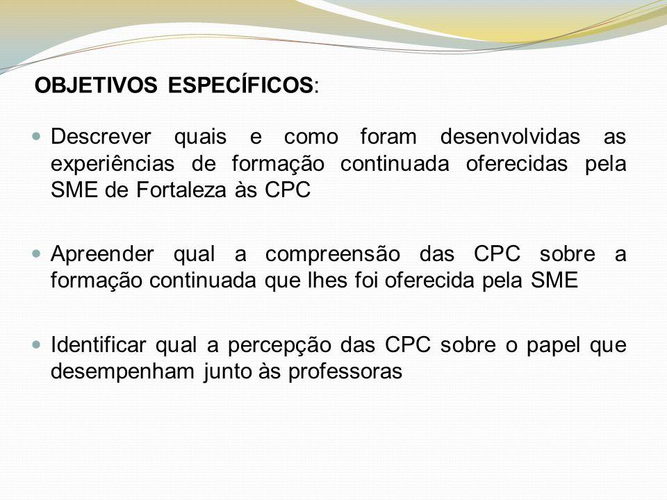 OBJETIVOS ESPECÍFICOS: Descrever quais e como foram desenvolvidas as experiências de formação continuada oferecidas pela SME de Fortaleza às CPC Apree