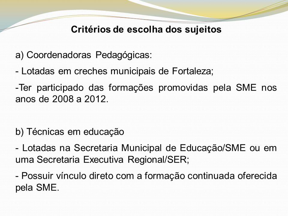 Critérios de escolha dos sujeitos a) Coordenadoras Pedagógicas: - Lotadas em creches municipais de Fortaleza; -Ter participado das formações promovida