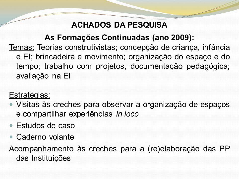 ACHADOS DA PESQUISA As Formações Continuadas (ano 2009): Temas: Teorias construtivistas; concepção de criança, infância e EI; brincadeira e movimento;