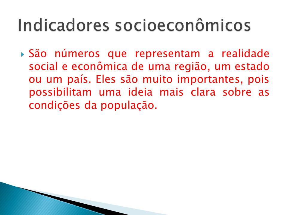  São números que representam a realidade social e econômica de uma região, um estado ou um país.