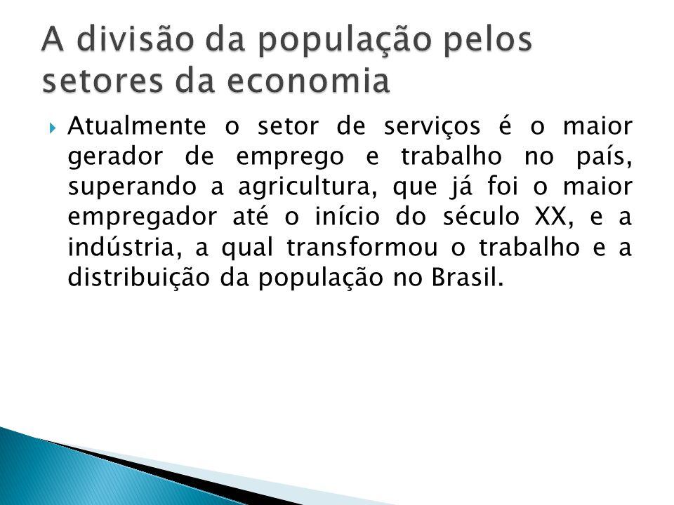  Atualmente o setor de serviços é o maior gerador de emprego e trabalho no país, superando a agricultura, que já foi o maior empregador até o início do século XX, e a indústria, a qual transformou o trabalho e a distribuição da população no Brasil.