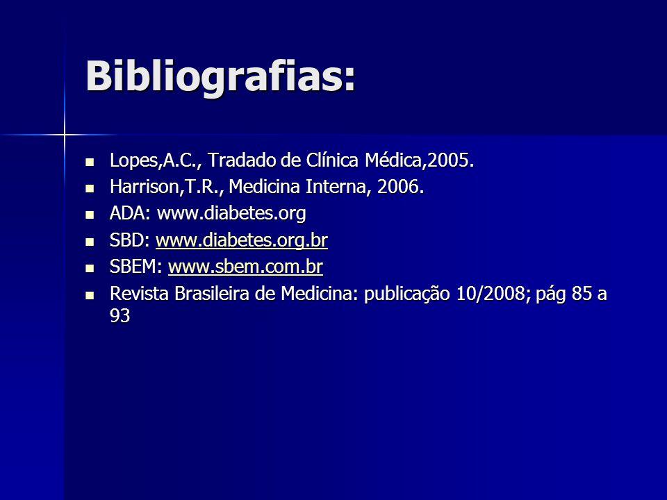 Bibliografias: Lopes,A.C., Tradado de Clínica Médica,2005.