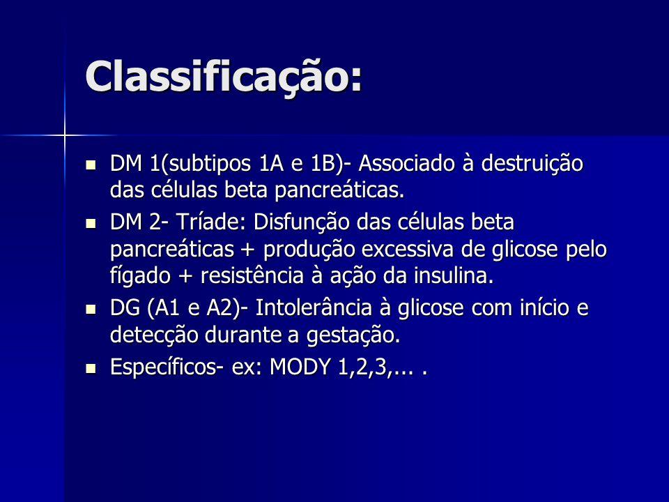 Classificação: DM 1(subtipos 1A e 1B)- Associado à destruição das células beta pancreáticas.