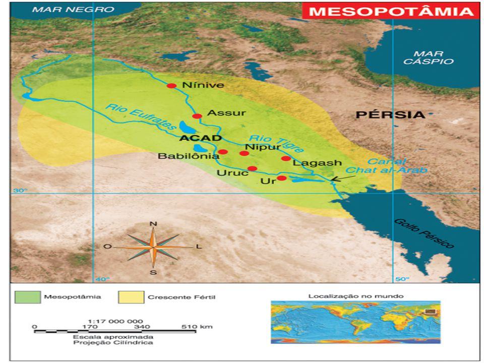 Mesopotâmia (de origem grega = entre rios). Região da Ásia Ocidental onde surgiram as mais antigas civilizações (atualmente corresponde ao Iraque). Pa