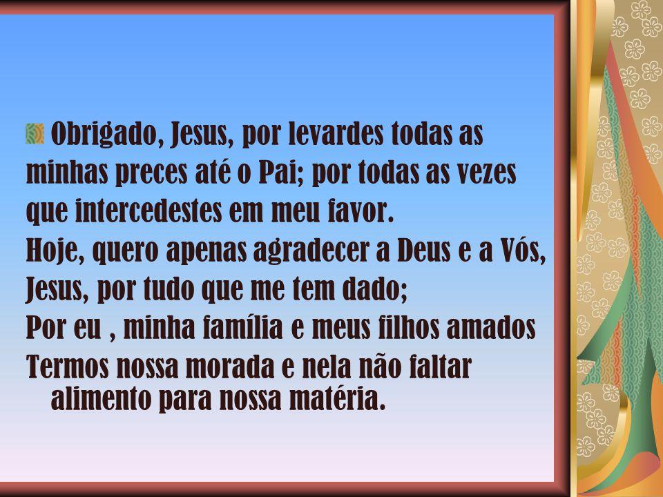 Obrigado, Jesus, por levardes todas as minhas preces até o Pai; por todas as vezes que intercedestes em meu favor.