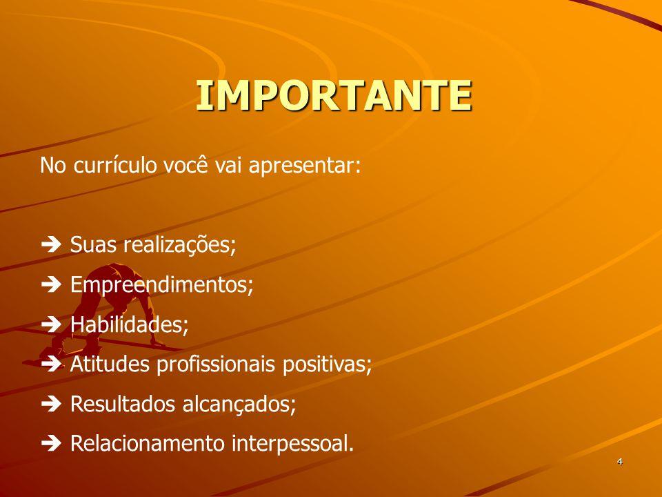 IMPORTANTE 4 No currículo você vai apresentar:  Suas realizações;  Empreendimentos;  Habilidades;  Atitudes profissionais positivas;  Resultados alcançados;  Relacionamento interpessoal.