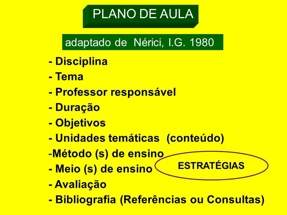 PLANO DE AULA adaptado de Nérici, I.G.