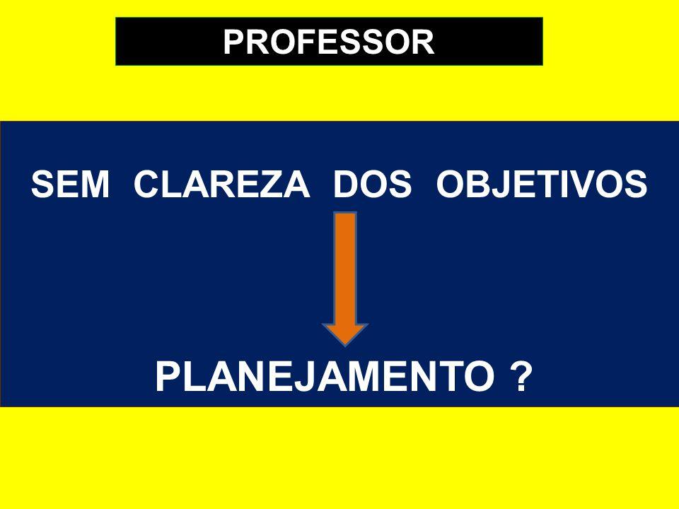 SEM CLAREZA DOS OBJETIVOS PLANEJAMENTO ? PROFESSOR