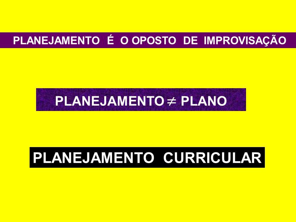 PLANEJAMENTO É O OPOSTO DE IMPROVISAÇÃO PLANEJAMENTO  PLANO PLANEJAMENTO CURRICULAR