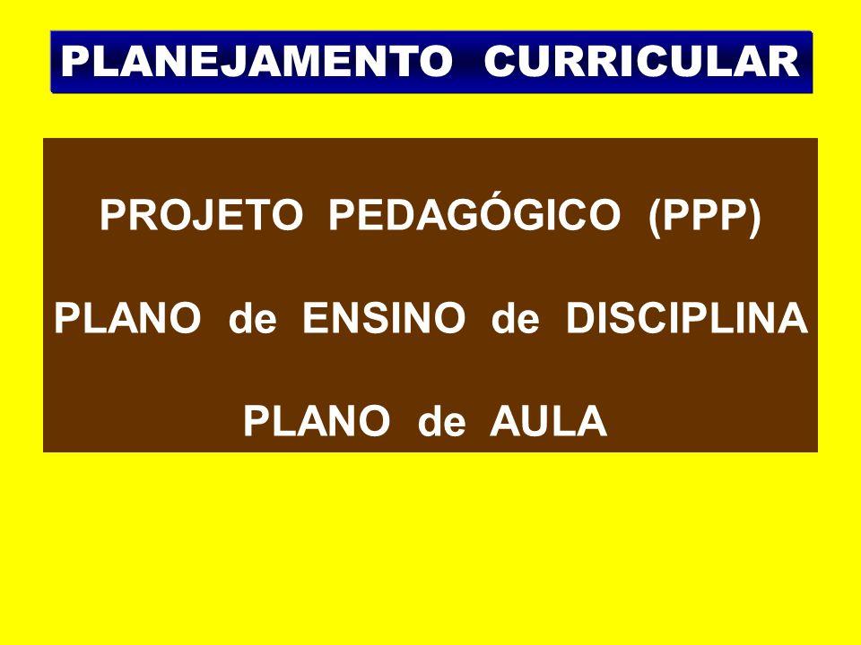 PROJETO PEDAGÓGICO (PPP) PLANO de ENSINO de DISCIPLINA PLANO de AULA PLANEJAMENTO CURRICULAR