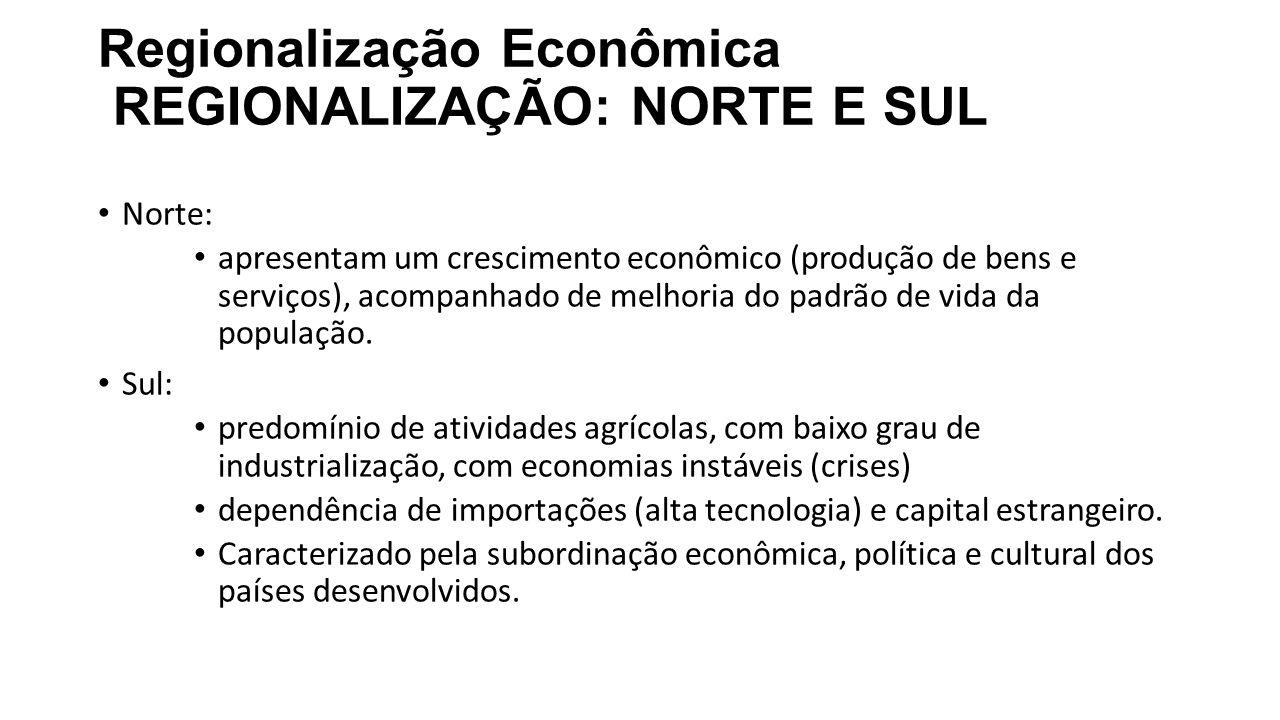 Regionalização Econômica REGIONALIZAÇÃO: NORTE E SUL Norte: apresentam um crescimento econômico (produção de bens e serviços), acompanhado de melhoria do padrão de vida da população.