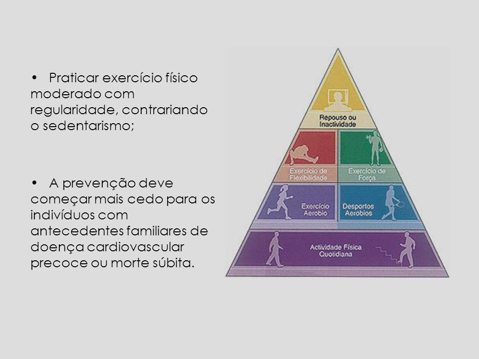 Praticar exercício físico moderado com regularidade, contrariando o sedentarismo; A prevenção deve começar mais cedo para os indivíduos com antecedentes familiares de doença cardiovascular precoce ou morte súbita.