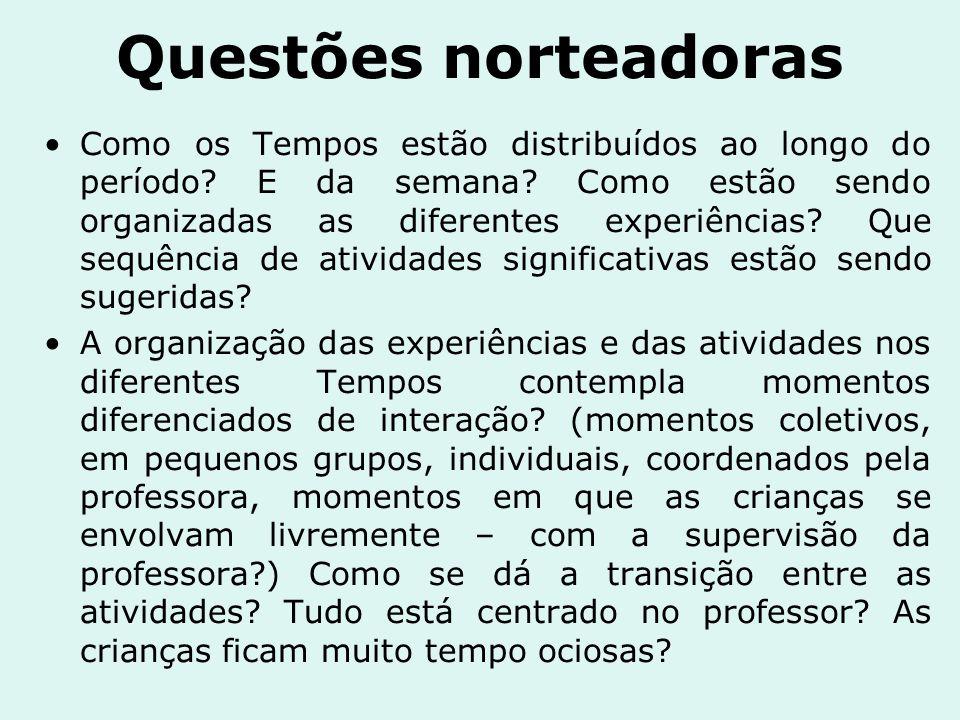 Questões norteadoras No planejamento e integração das experiências, a organização das atividades está acompanhada da organização dos espaços e materiais.
