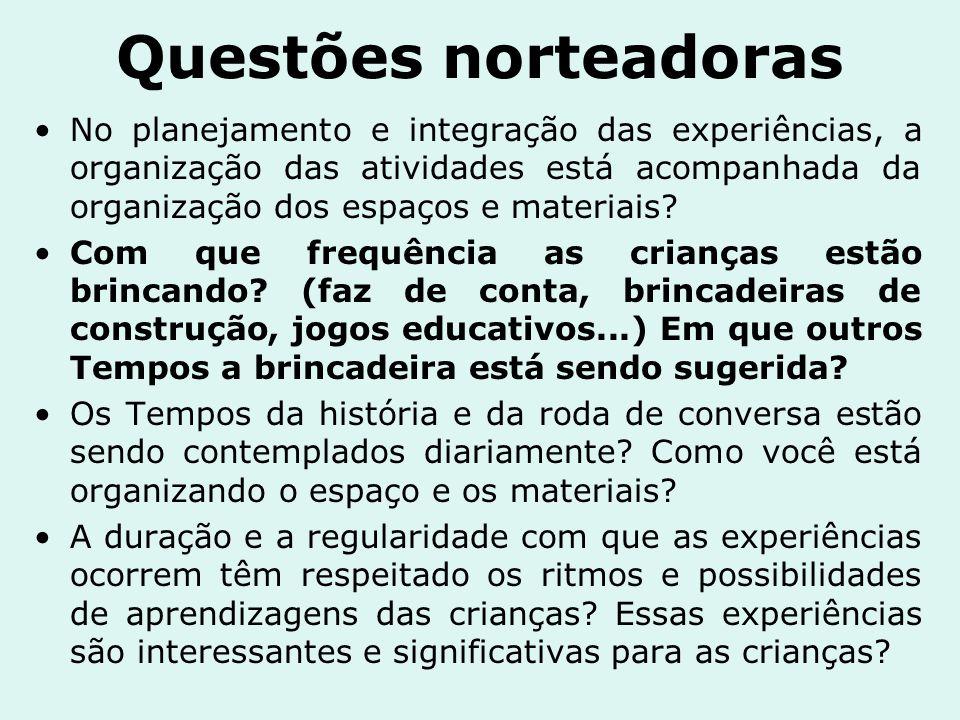Questões norteadoras No planejamento e integração das experiências, a organização das atividades está acompanhada da organização dos espaços e materia